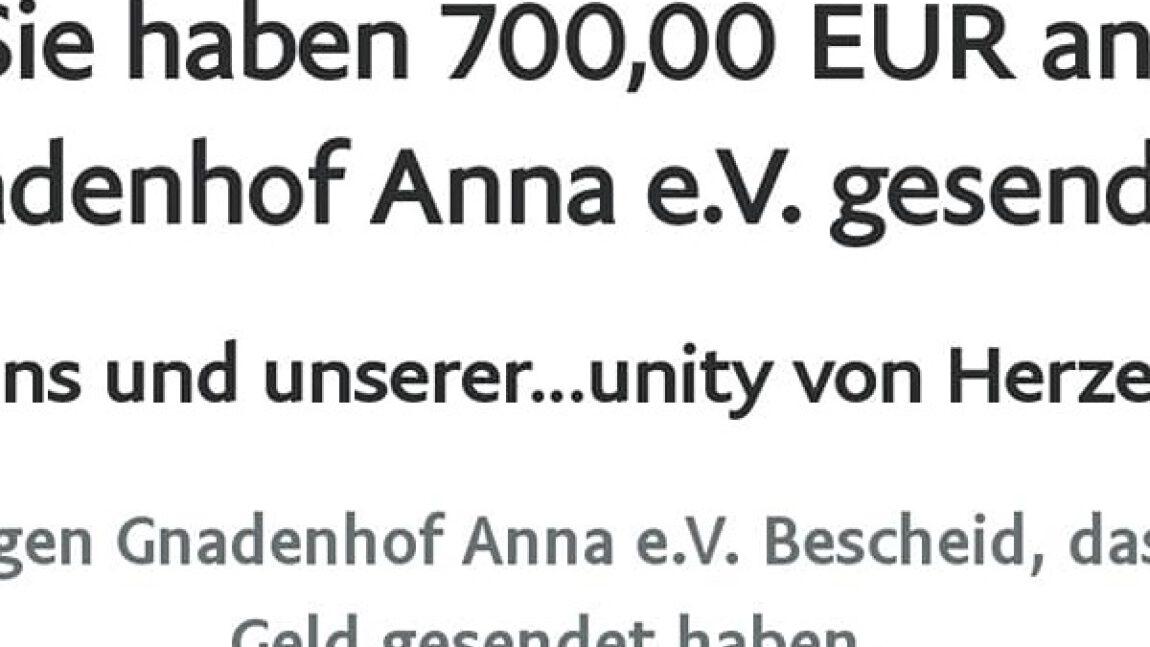 Spenden für Gnadenhof Anna e. V.